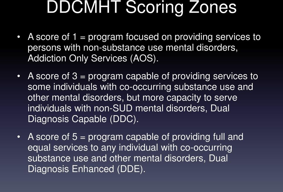 A score of 3 = program capable of providing services to some individuals with co-occurring substance use and other mental disorders, but more