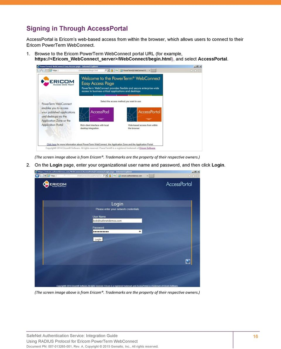 Browse to the Ericom PowerTerm WebConnect portal URL (for example,