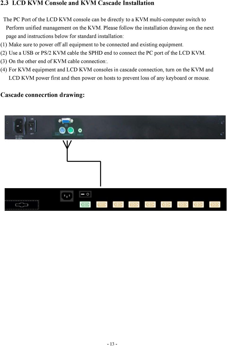 existing equipment. (2) Use a USB or PS/2 KVM cable the SPHD end to connect the PC port of the LCD KVM. (3) On the other end of KVM cable connection:.