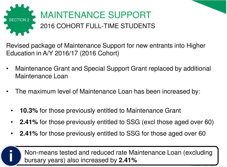 increased by: 10.3% for those previously entitled to Maintenance Grant 2.41% for those previously entitled to SSG (excl those aged over 60) 2.