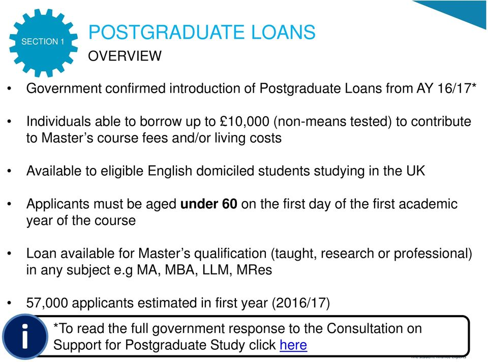 under 60 on the first day of the first academic year of the course Loan available for Master s qualification (taught, research or professional) in any subject e.