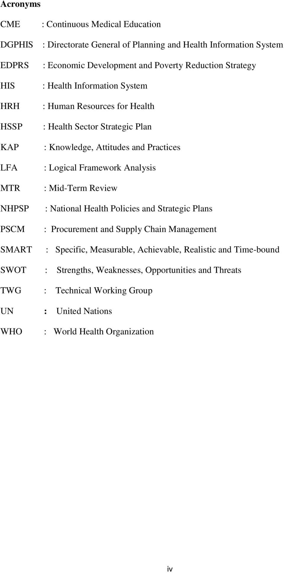 Practices : Logical Framework Analysis : Mid-Term Review : National Health Policies and Strategic Plans : Procurement and Supply Chain Management : Specific, Measurable,
