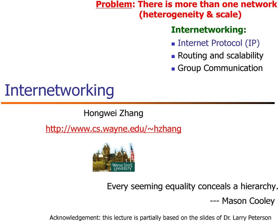 edu/~hzhang Internetworking: Internet Protocol (IP) Routing and scalability Group