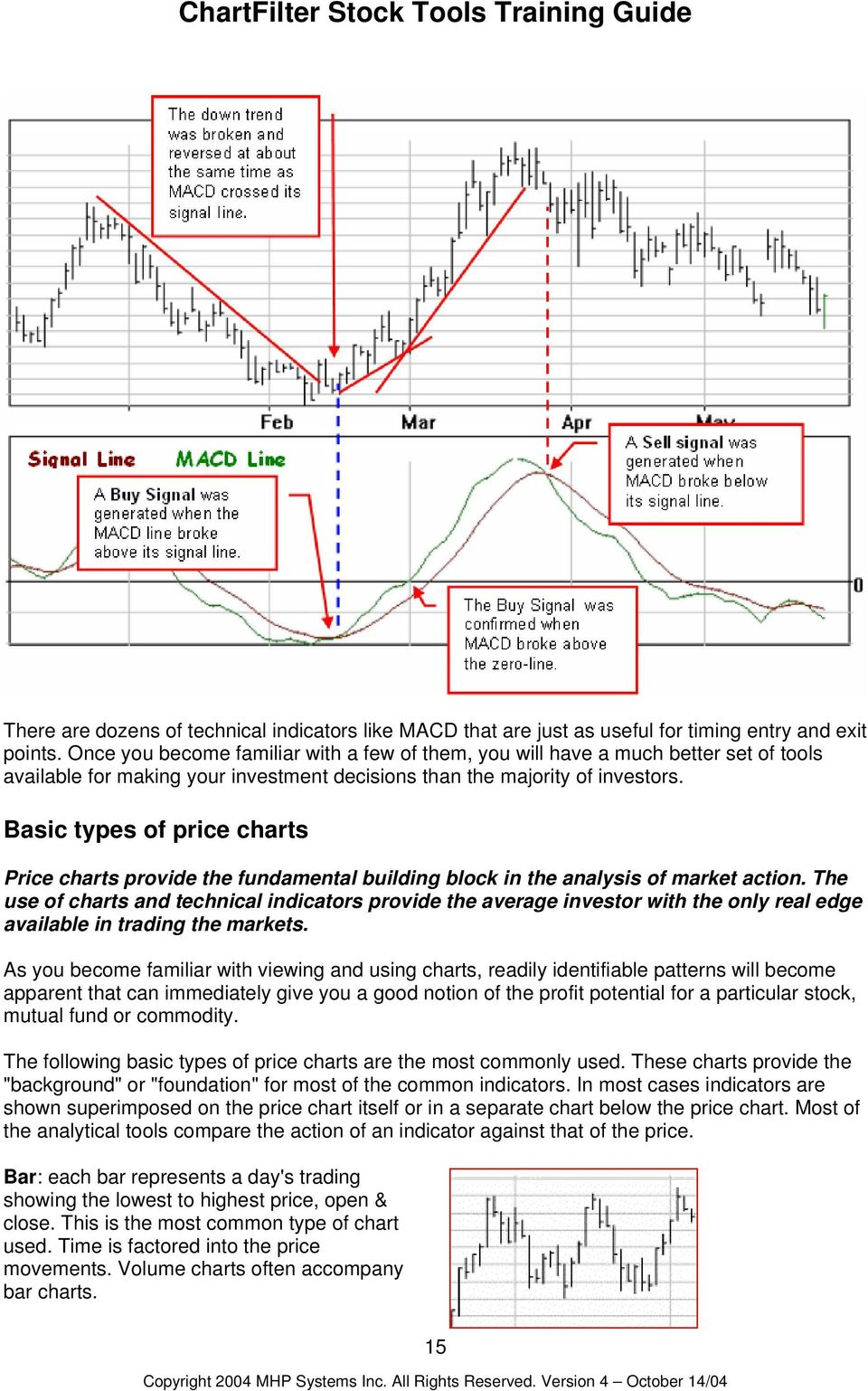 Basic types of price charts Price charts provide the fundamental building block in the analysis of market action.