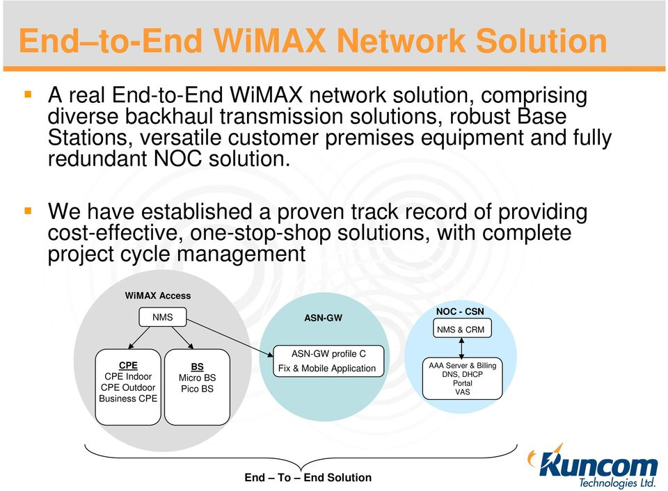 We have established a proven track record of providing cost-effective, one-stop-shop solutions, with complete project cycle management WiMAX