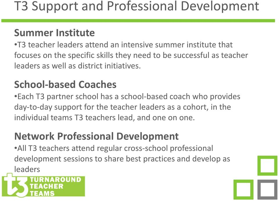 School-based Coaches Each T3 partner school has a school-based coach who provides day-to-day support for the teacher leaders as a cohort, in the