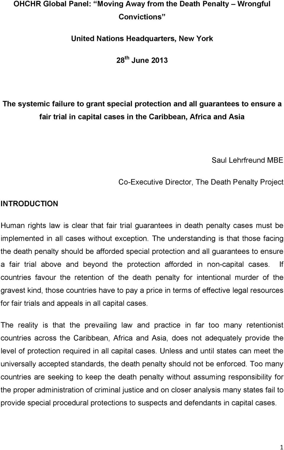 guarantees in death penalty cases must be implemented in all cases without exception.