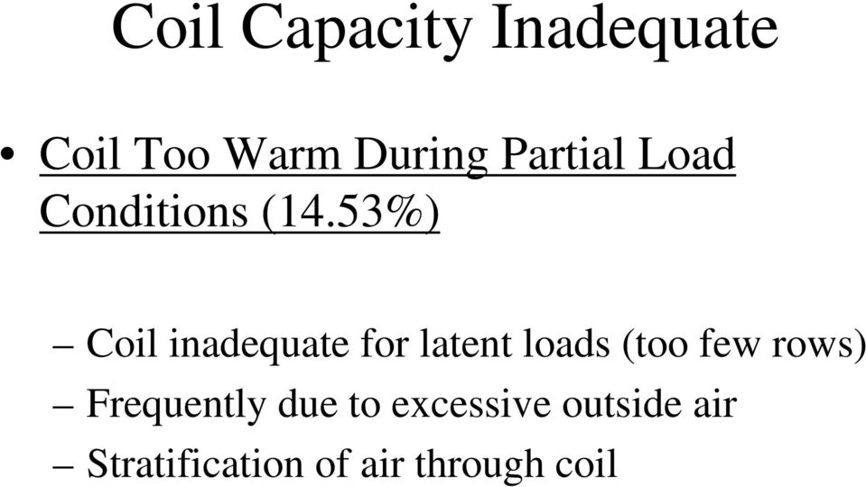 53%) Coil inadequate for latent loads (too few