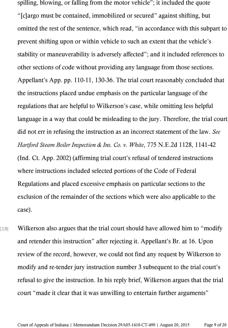 sections of code without providing any language from those sections. Appellant s App. pp. 110-11, 130-36.