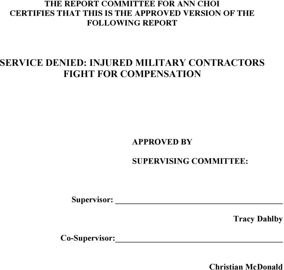 MILITARY CONTRACTORS FIGHT FOR COMPENSATION APPROVED BY