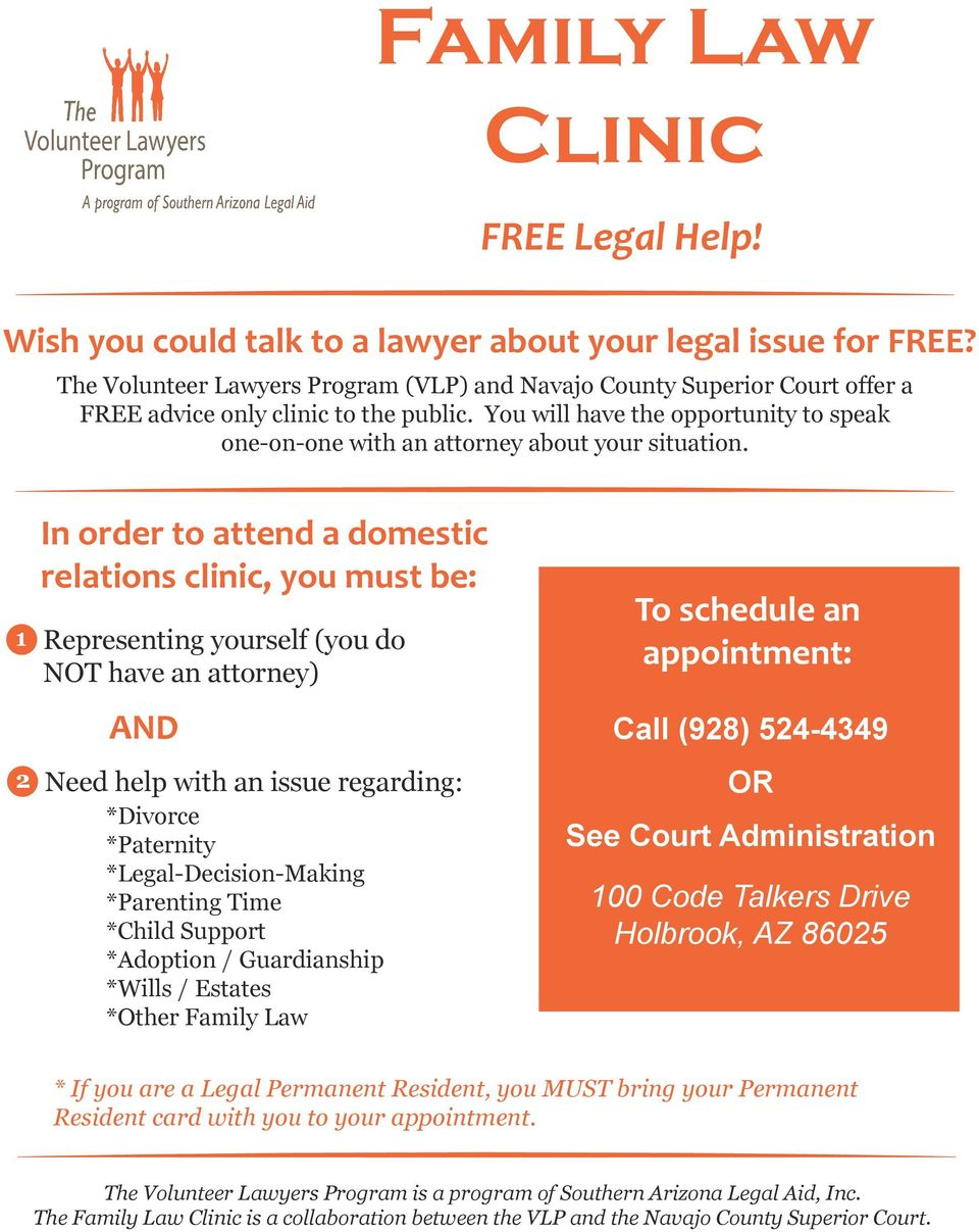 You will have the opportunity to speak one-on-one with an attorney about your situation.