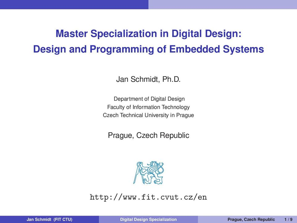 Department of Digital Design Faculty of Information Technology Czech Technical