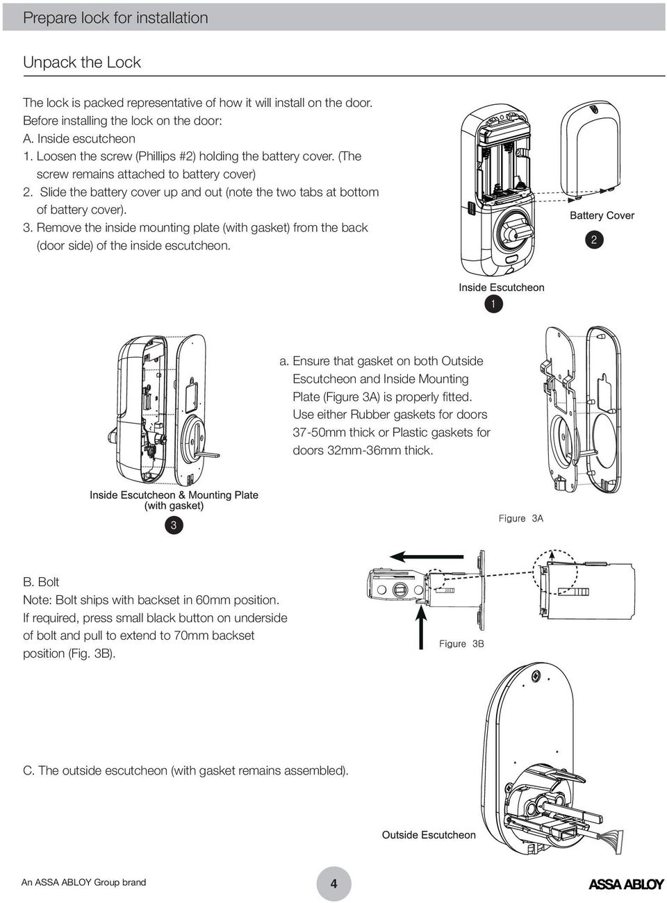 Remove the inside mounting plate (with gasket) from the back (door side) of the inside escutcheon. a.