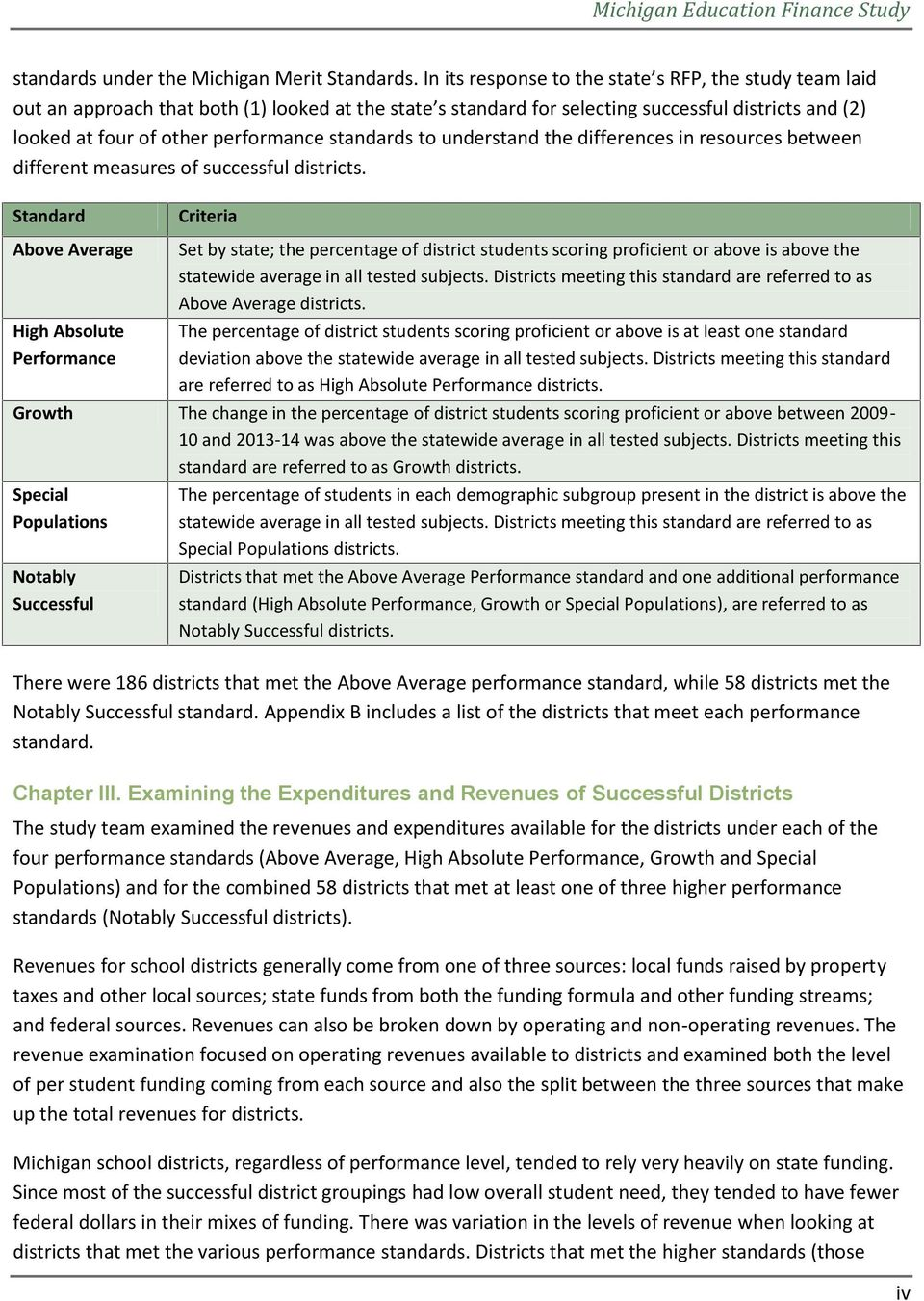 standards to understand the differences in resources between different measures of successful districts.