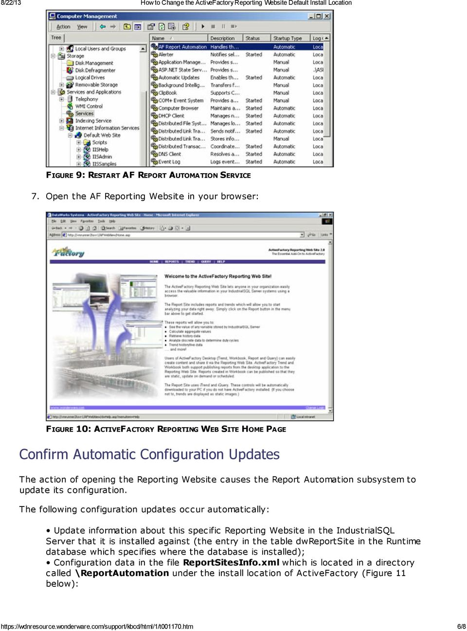 Report Automation subsystem to update its configuration.