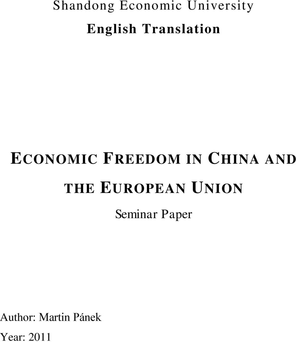 FREEDOM IN CHINA AND THE EUROPEAN