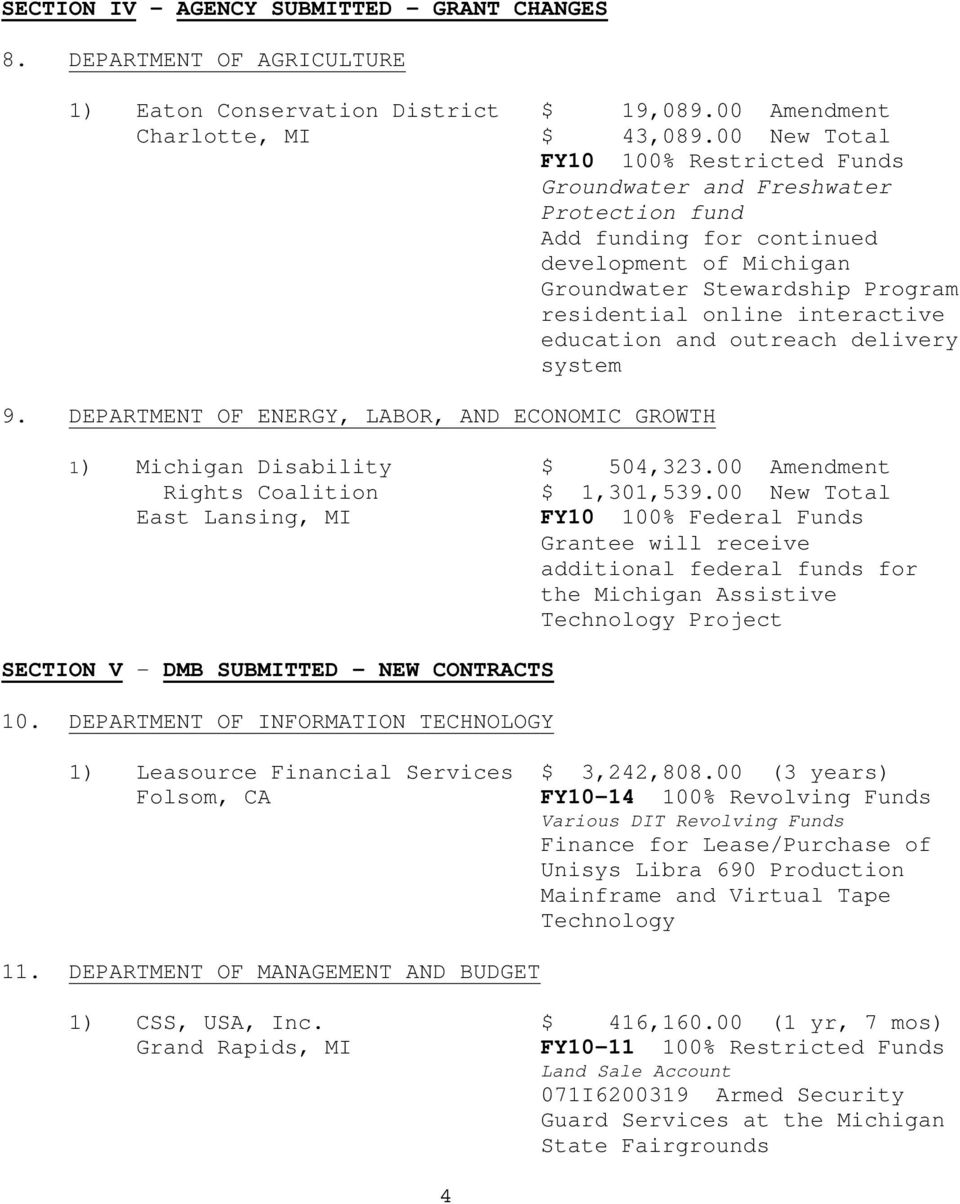 education and outreach delivery system 9. DEPARTMENT OF ENERGY, LABOR, AND ECONOMIC GROWTH 1) Michigan Disability $ 504,323.00 Amendment Rights Coalition $ 1,301,539.