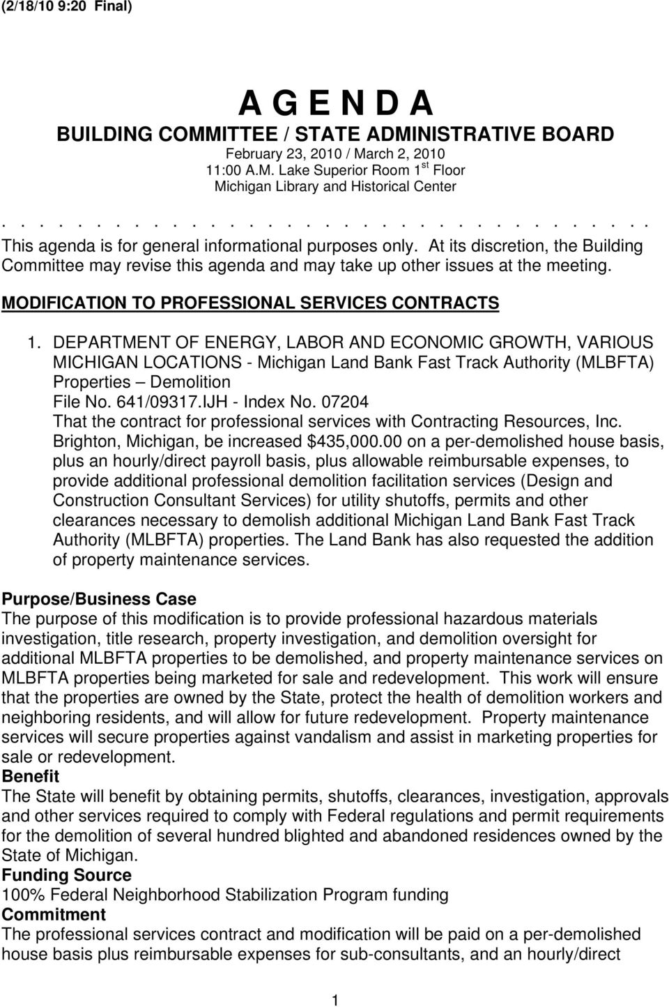 MODIFICATION TO PROFESSIONAL SERVICES CONTRACTS 1.