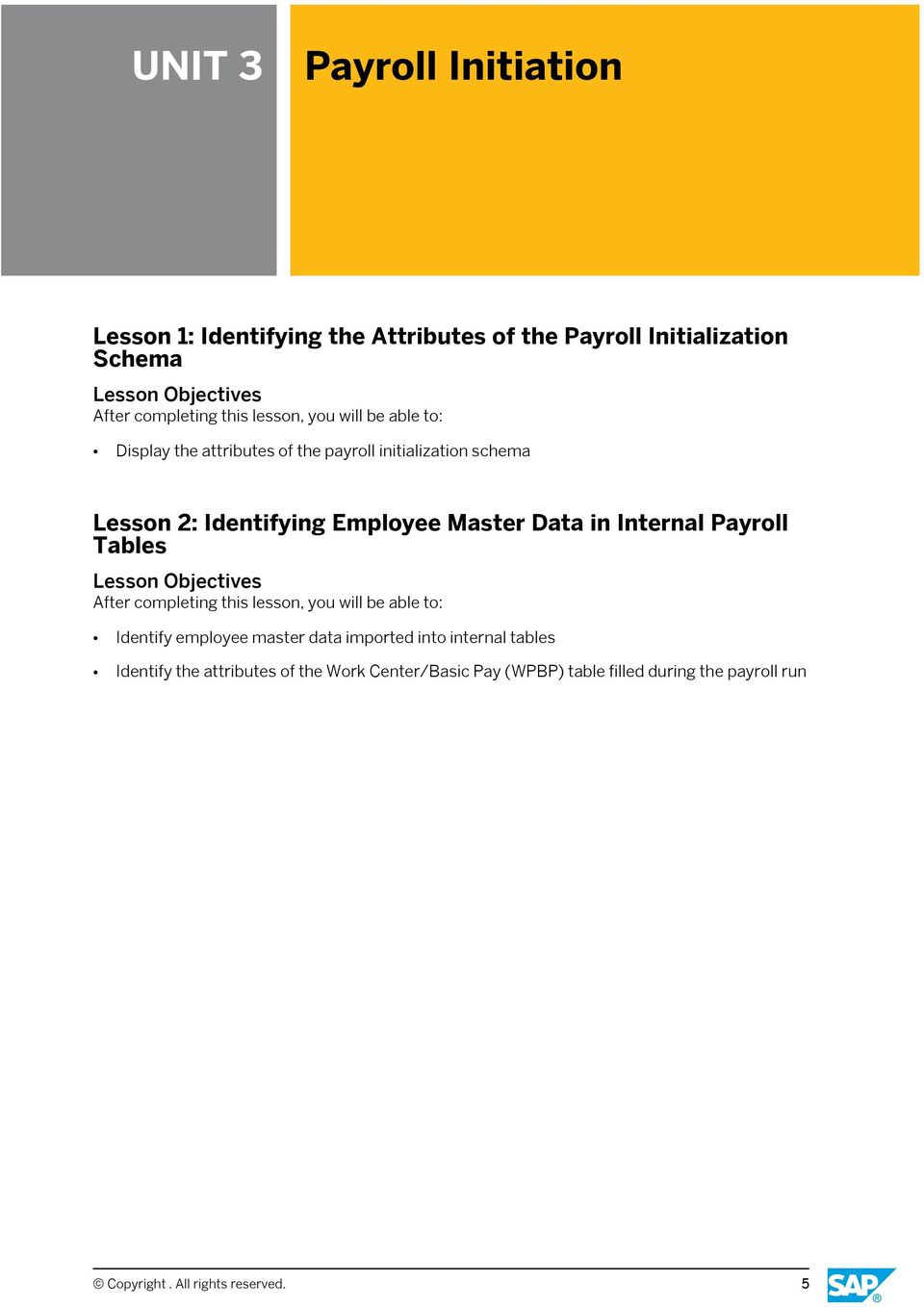 in Internal Payroll Tables Identify employee master data imported into internal tables Identify the
