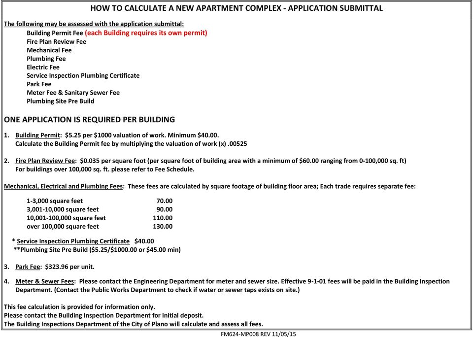 Building Permit: $5.25 per $1000 valuation of work. Minimum $40.00. Calculate the Building Permit fee by multiplying the valuation of work (x).00525 2. Fire Plan Review Fee: $0.