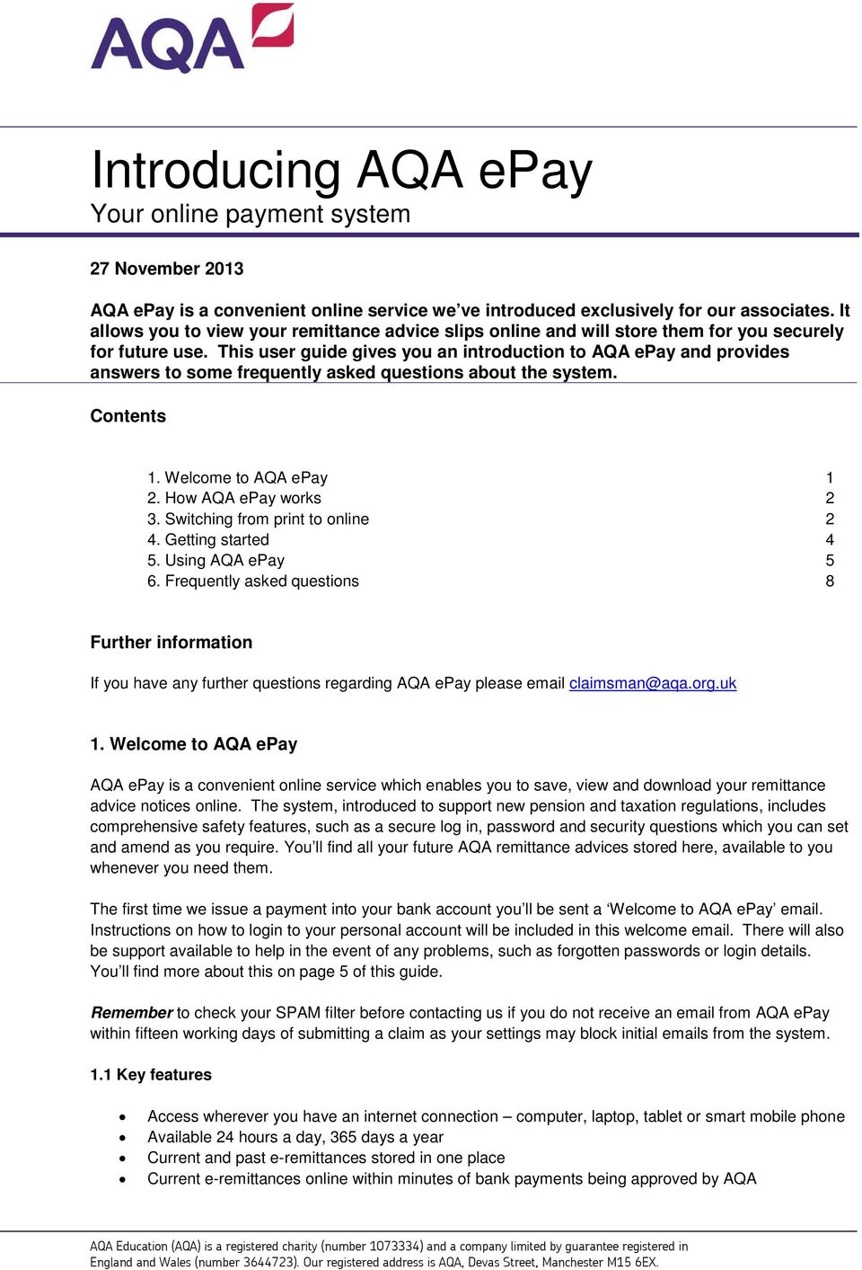 Introducing AQA epay Your online payment system PDF – Remittance Advice Slip