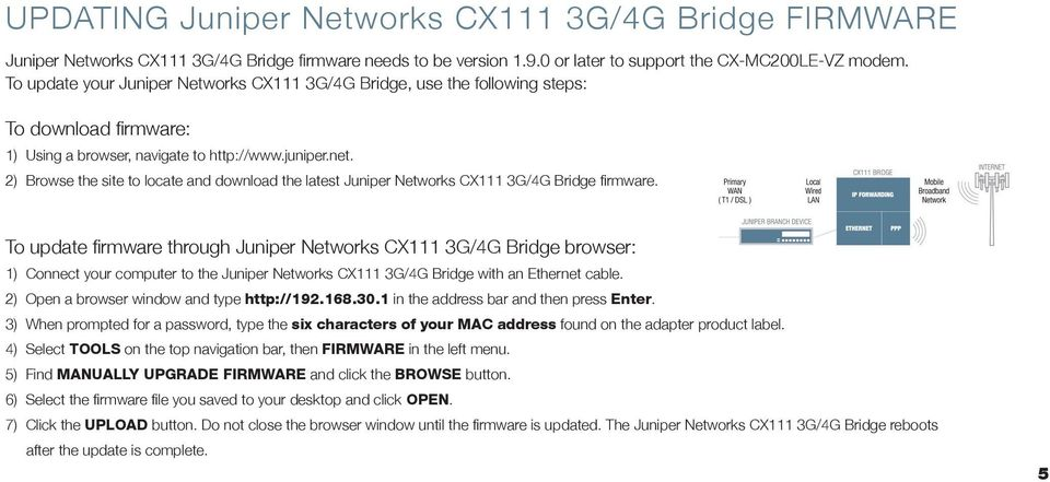 2) Browse the site to locate and download the latest Juniper Networks CX111 3G/4G Bridge firmware.