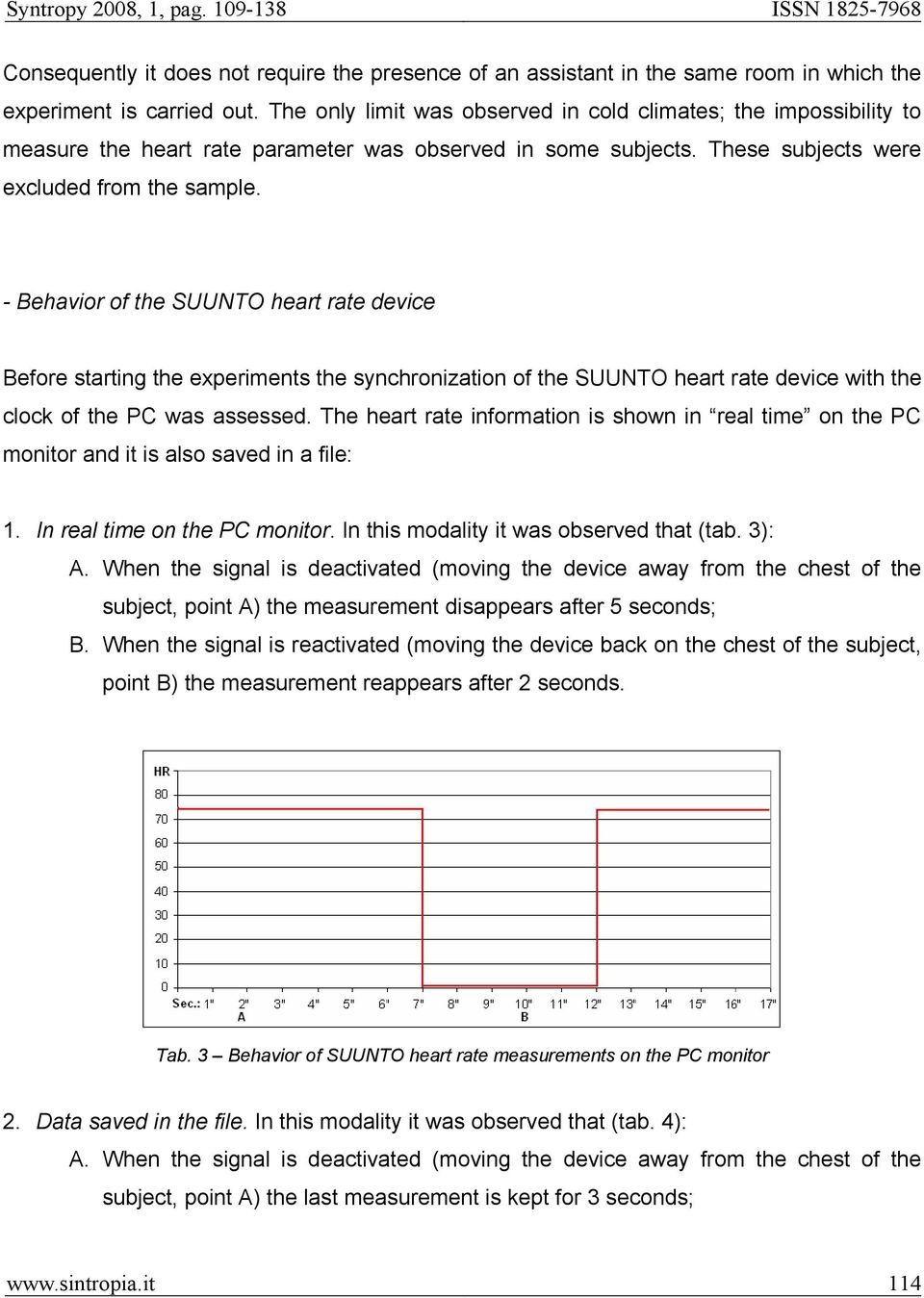 - Behavior of the SUUNTO heart rate device Before starting the experiments the synchronization of the SUUNTO heart rate device with the clock of the PC was assessed.
