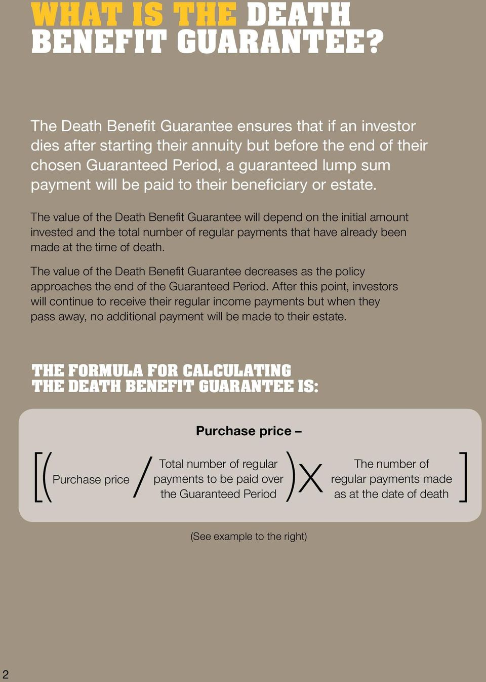 beneficiary or estate. The value of the Death Benefit Guarantee will depend on the initial amount invested and the total number of regular payments that have already been made at the time of death.