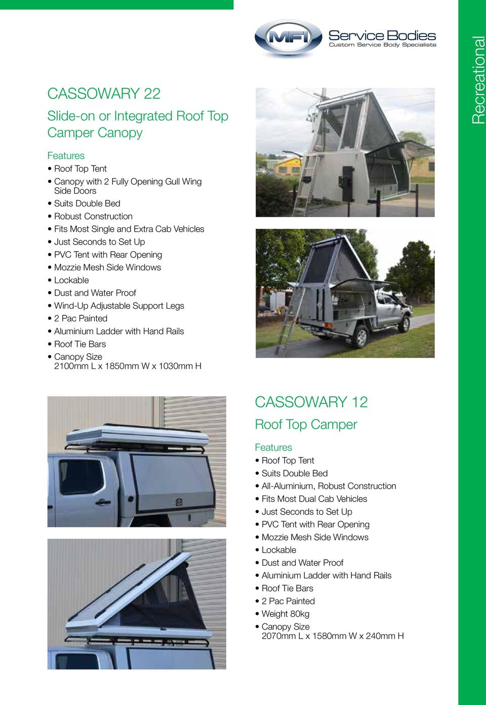 Painted Aluminium Ladder with Hand Rails Roof Tie Bars Canopy Size 2100mm L x 1850mm W x 1030mm H CASSOWARY 12 Roof Top Camper Features Roof Top Tent Suits Double Bed All-Aluminium, Robust