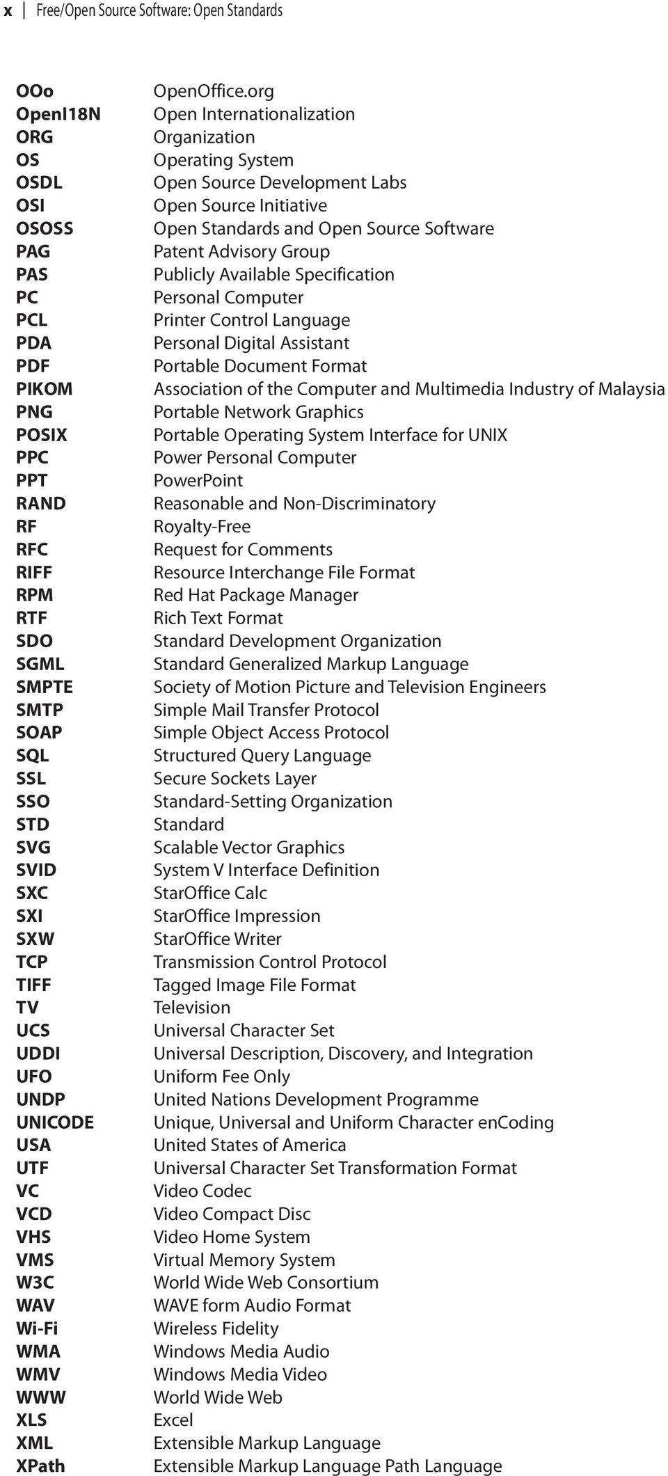 org Open Internationalization Organization Operating System Open Source Development Labs Open Source Initiative Open Standards and Open Source Software Patent Advisory Group Publicly Available