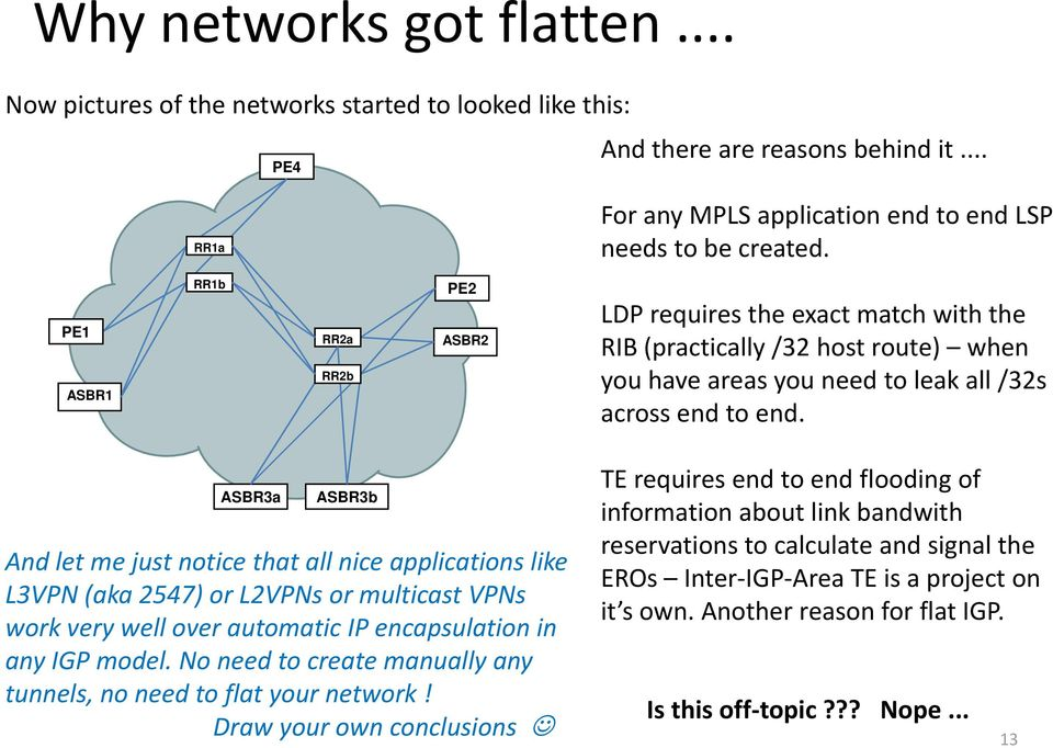 ASBR3a ASBR3b And let me just notice that all nice applications like L3VPN (aka 2547) or L2VPNs or multicast VPNs work very well over automatic IP encapsulation in any IGP model.