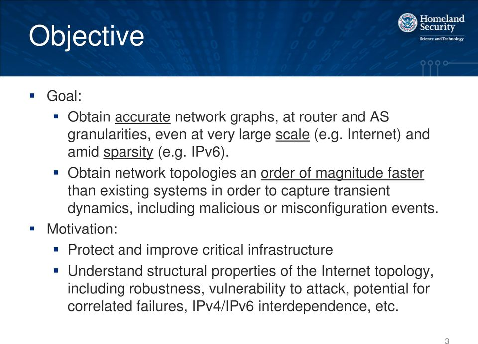 Obtain network topologies an order of magnitude faster than existing systems in order to capture transient dynamics, including malicious