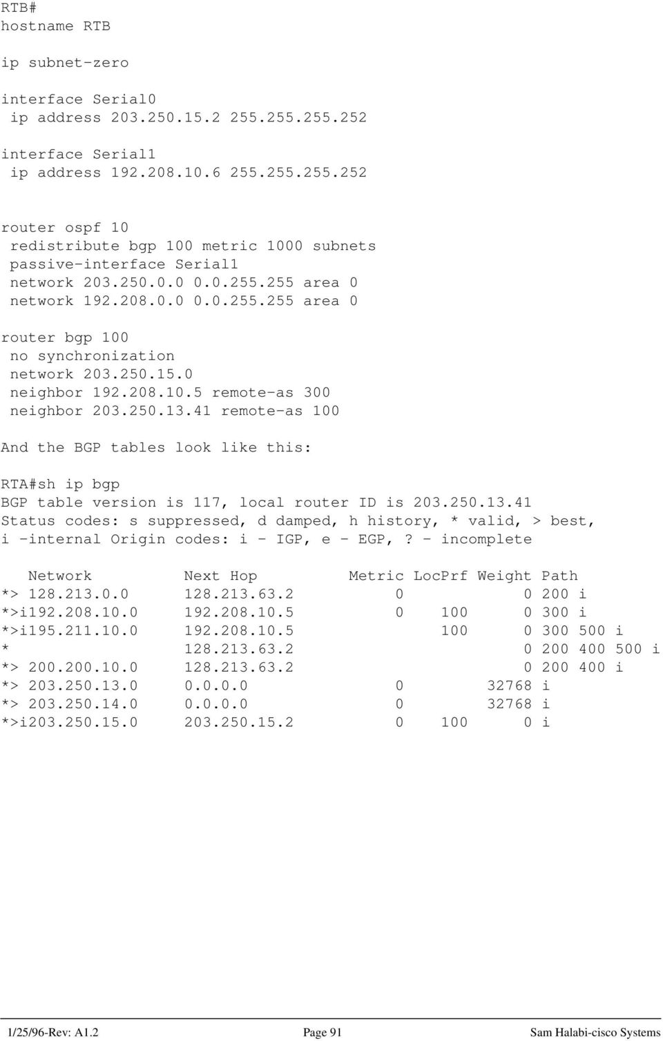 41 remote-as 100 And the BGP tables look like this: RTA#sh ip bgp BGP table version is 117, local router ID is 203.250.13.