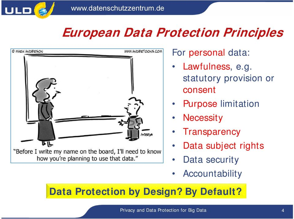 Transparency Data subject rights Data security Accountability Data
