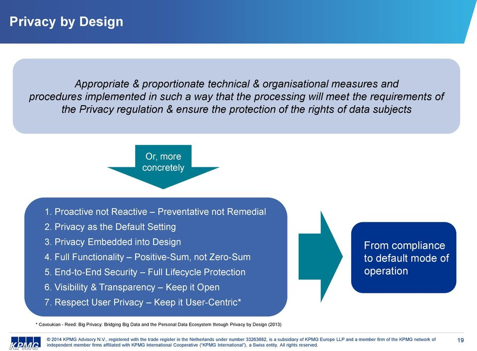 Privacy Embedded into Design 4. Full Functionality Positive-Sum, not Zero-Sum 5. End-to-End Security Full Lifecycle Protection 6. Visibility & Transparency Keep it Open 7.