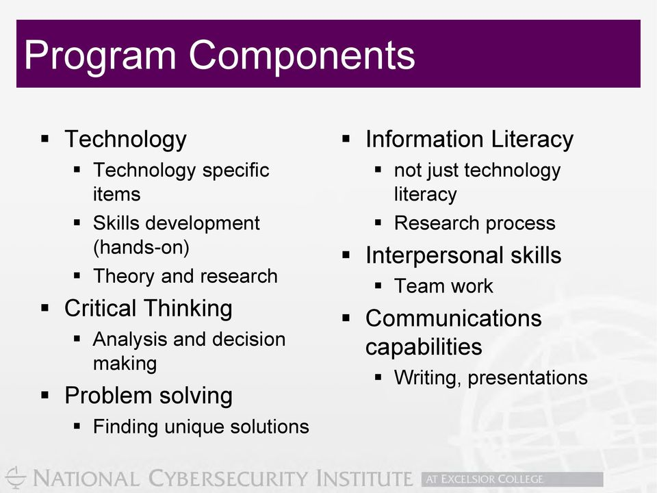 Finding unique solutions Information Literacy not just technology literacy Research