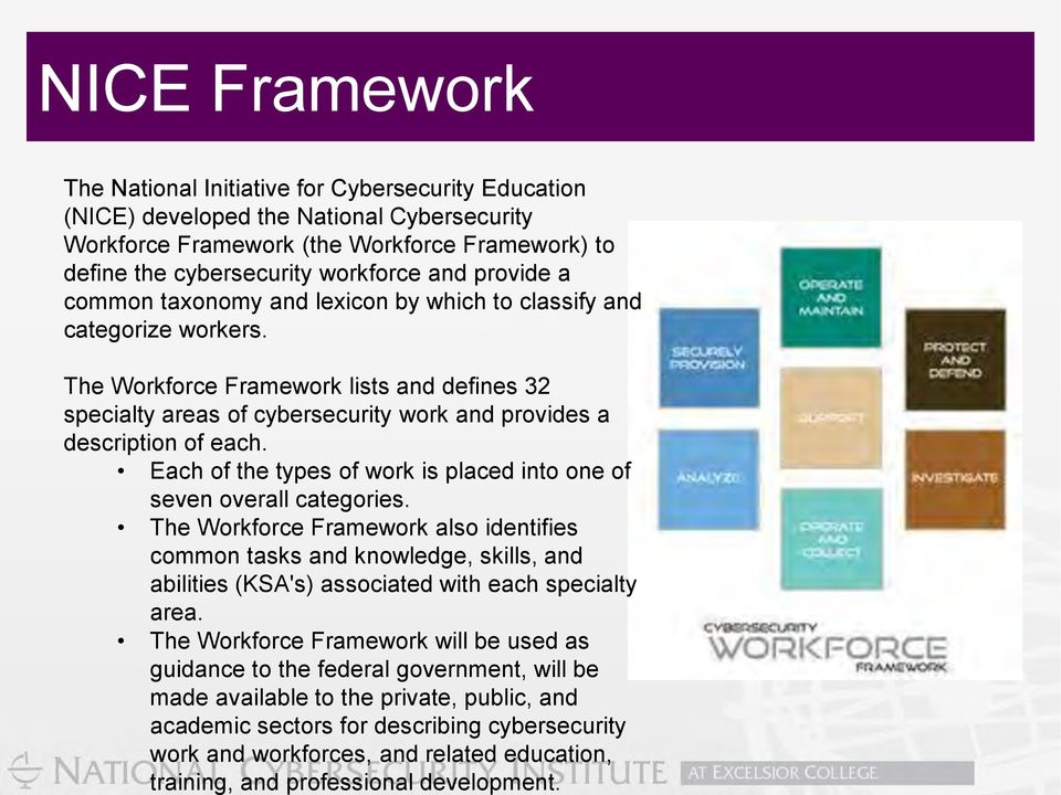 The Workforce Framework will be used as guidance to the federal government, will be made available to the private, public, and academic sectors for describing cybersecurity work and workforces, and
