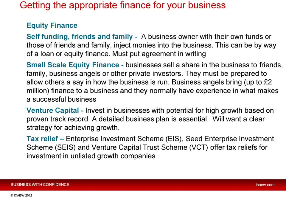Must put agreement in writing Small Scale Equity Finance - businesses sell a share in the business to friends, family, business angels or other private investors.