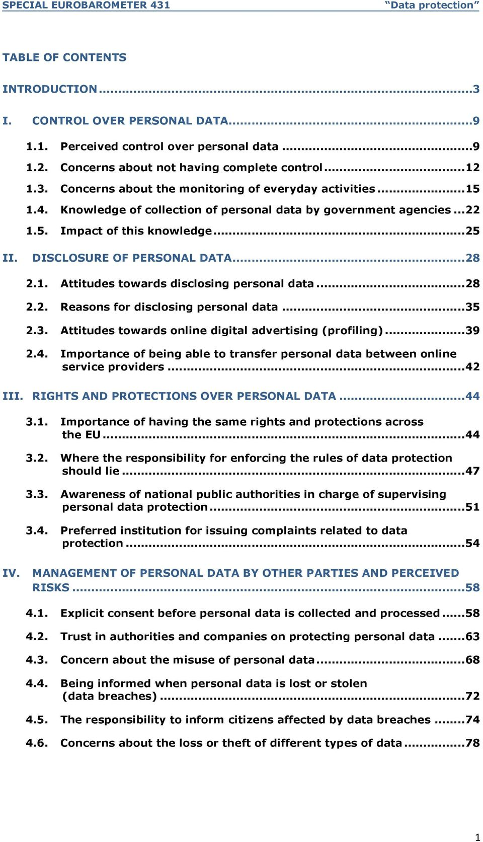 .. 28 2.2. Reasons for disclosing personal data... 35 2.3. Attitudes towards online digital advertising (profiling)... 39 2.4.