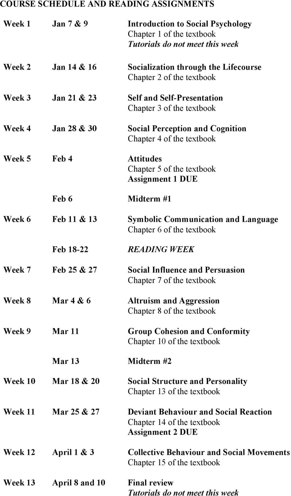 Attitudes Chapter 5 of the textbook Assignment 1 DUE Feb 6 Midterm #1 Week 6 Feb 11 & 13 Symbolic Communication and Language Chapter 6 of the textbook Feb 18-22 READING WEEK Week 7 Feb 25 & 27 Social