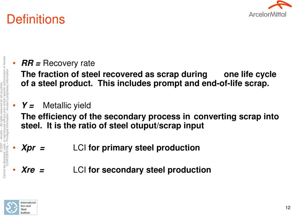Y = Metallic yield The efficiency of the secondary process in converting scrap into steel.