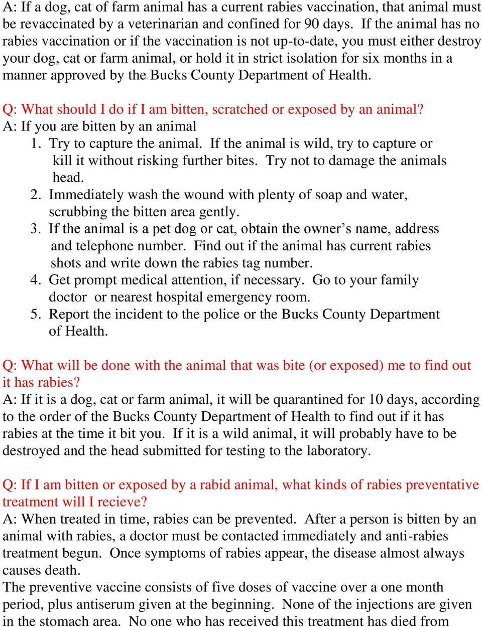 approved by the Bucks County Department of Health. Q: What should I do if I am bitten, scratched or exposed by an animal? A: If you are bitten by an animal 1. Try to capture the animal.
