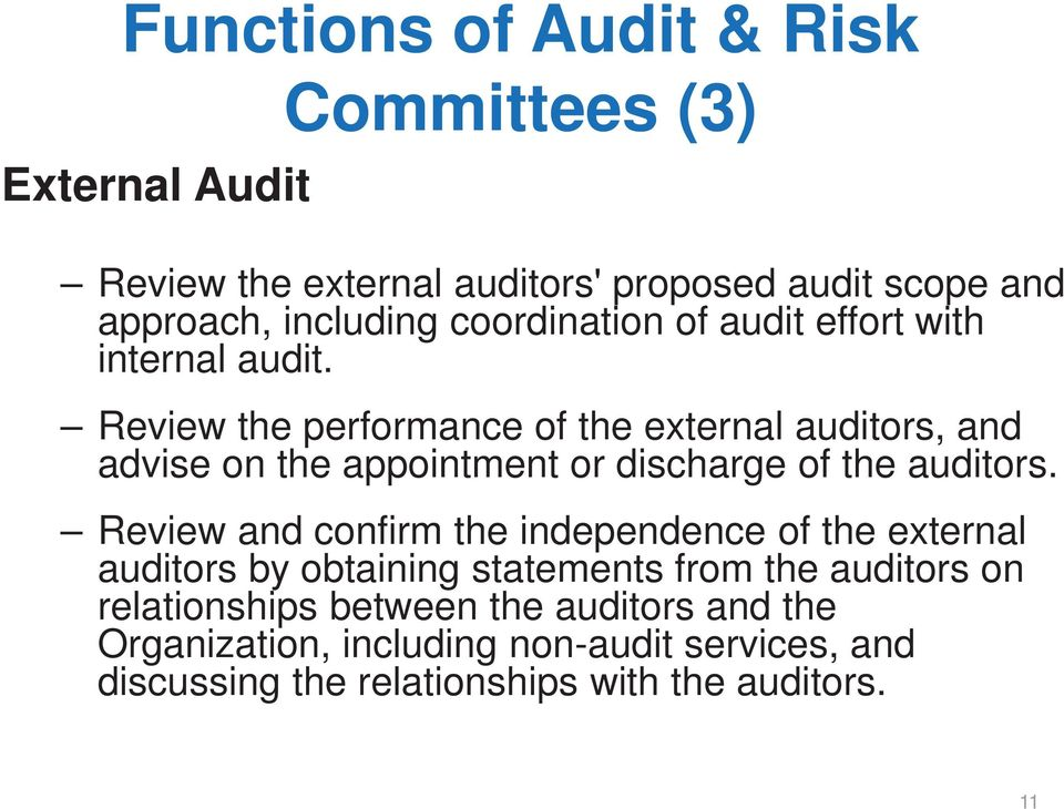 Review the performance of the external auditors, and advise on the appointment or discharge of the auditors.