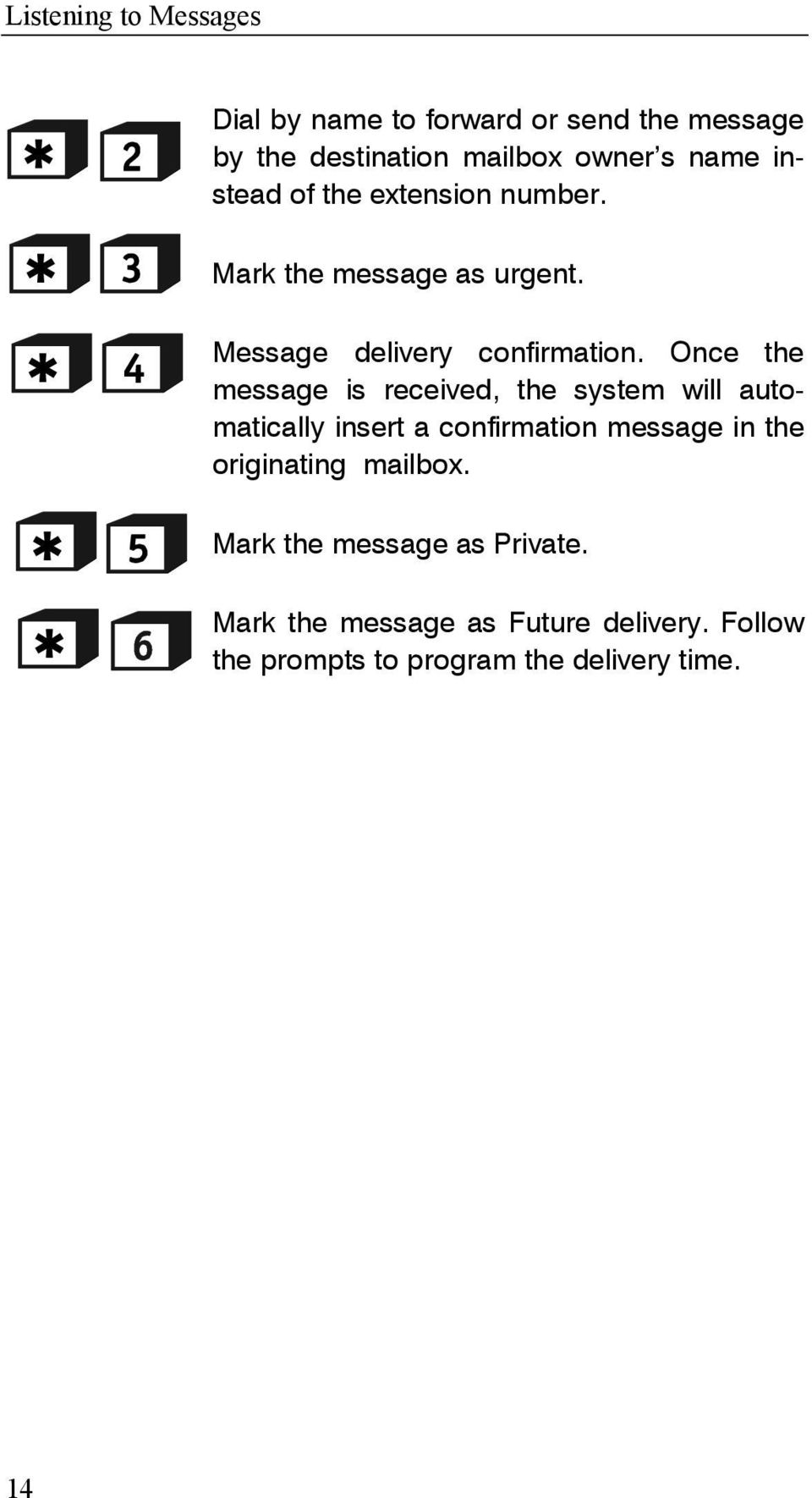 Once the message is received, the system will automatically insert a confirmation message in the originating