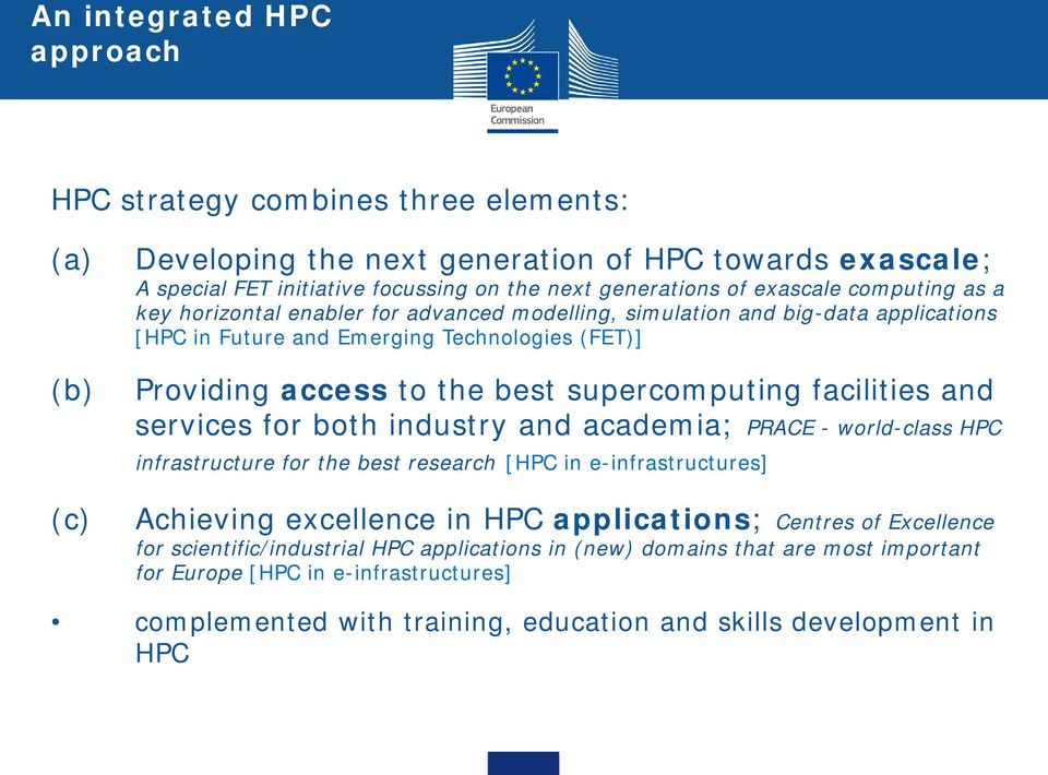 supercomputing facilities and services for both industry and academia; PRACE - world-class HPC infrastructure for the best research [HPC in e-infrastructures] Achieving excellence in HPC