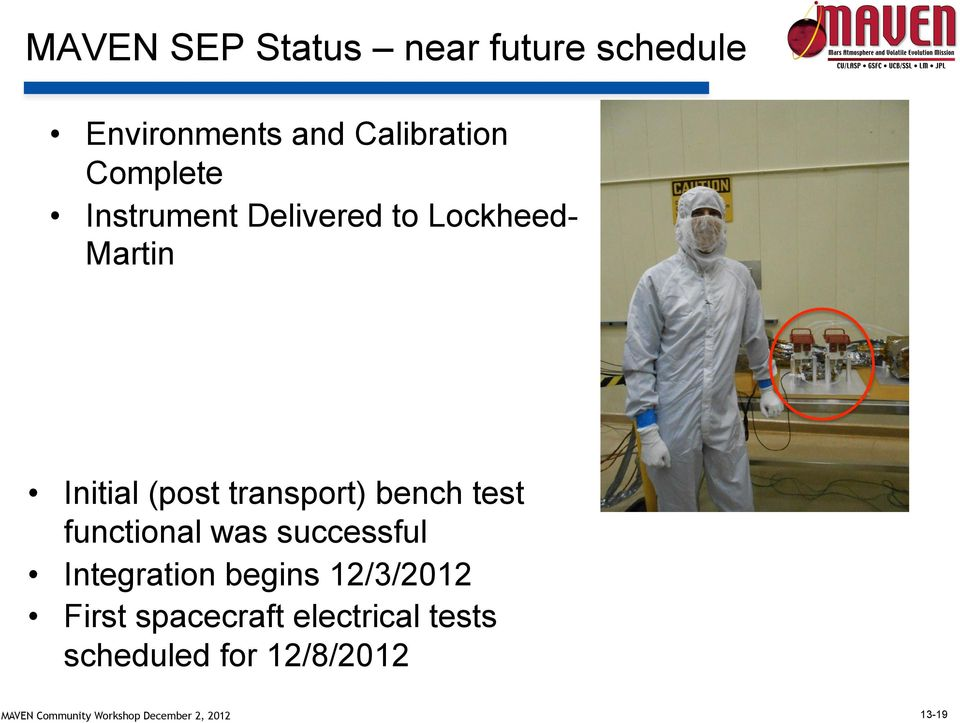 transport) bench test functional was successful Integration begins
