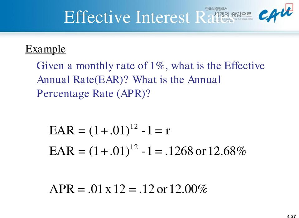 What is the Annual Percentage Rate (APR)? EAR = (1+.