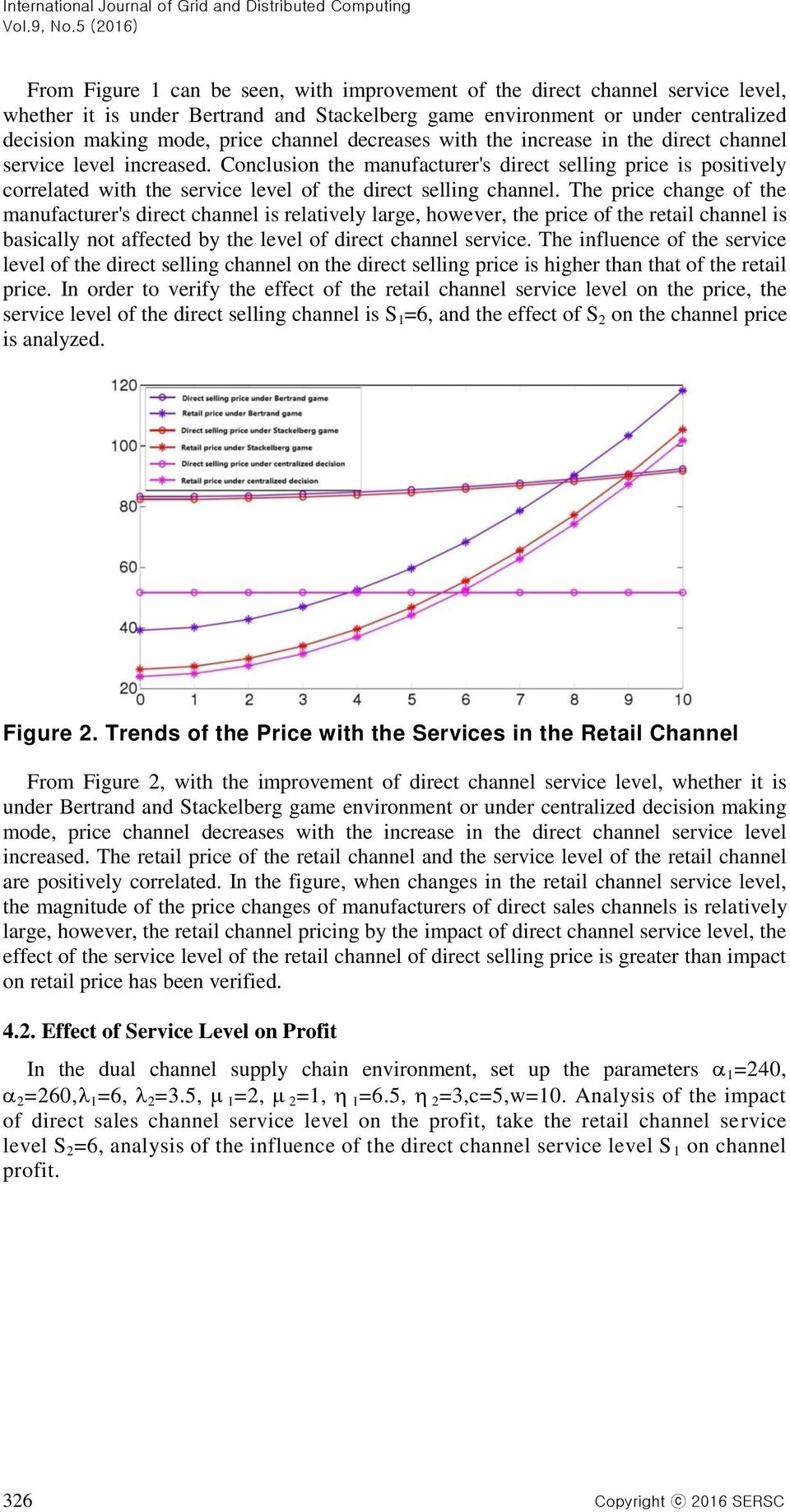 channel decreases with the increase in the direct channel service level increased.