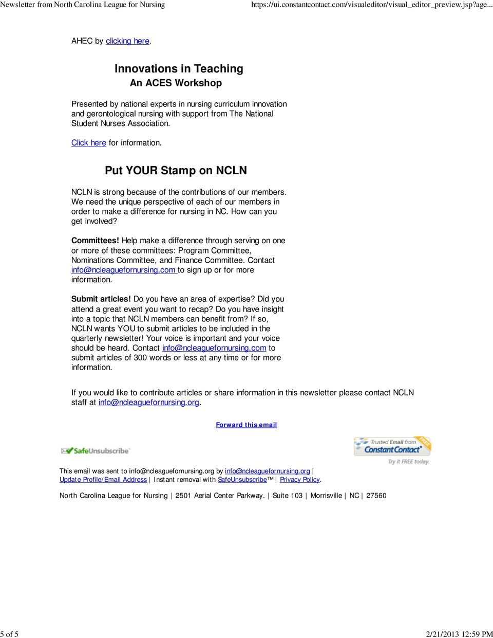 Click here for information. Put YOUR Stamp on NCLN NCLN is strong because of the contributions of our members.