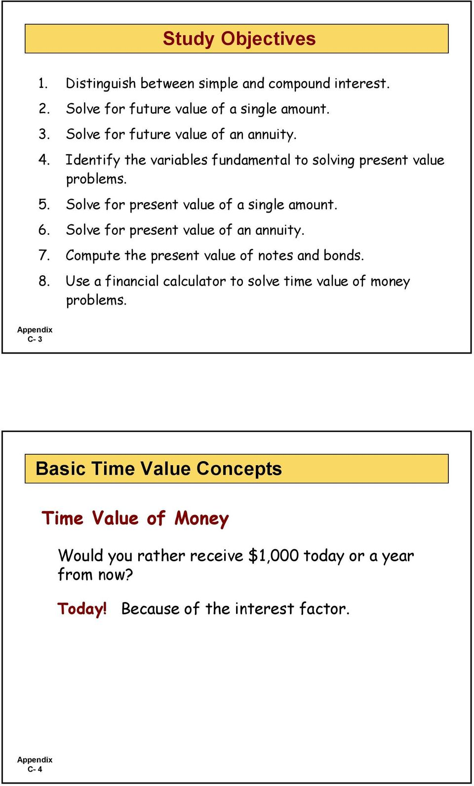 Solve for present value of a single amount. 6. Solve for present value of an annuity. 7. Compute the present value of notes and bonds. 8.